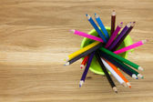 Top-view of container filled with coloring pencils — Stock Photo