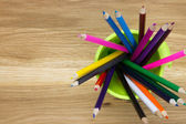 Close up of container of coloring pencils — Stock Photo