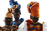 Group of three African dolls isolated — Zdjęcie stockowe