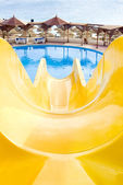 Water park, top water slide, Closeup — Stockfoto