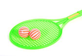 Green Tennis racket isolated on white background with balls — Stock Photo