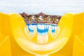 Water park, top water slide, Closeup — Stock Photo
