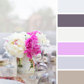 Peony in a vase and glasses , colour palette swatches. — Stock Photo