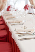 Table setting in restaurant . shallow depth of field — Stock Photo