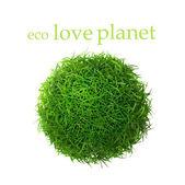Grüne gras ball. isoliert auf weißem hintergrund — Stockfoto
