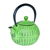 Green teapot isolated on white background — Stock Photo