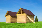 A new home being built with wood — Stock Photo