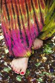 Female feet walking on broken , sharp glass, meditation — Stock Photo