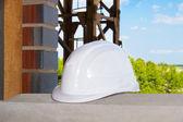Helmet on a construction site — Stock Photo