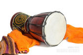 Ethnic drum isolated on white background — Stock Photo