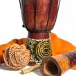 Drum, didgeridoo and ethnic musical instruments isolated on a wh — Stock Photo