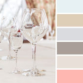 Table setting in cafe. colour palette swatches. pastel hues — Stock Photo