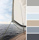 Yacht in the sea , colour palette swatches. — Stock Photo
