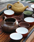 Chinese tea ceremony on bamboo table. shallow depth of field — Stock Photo