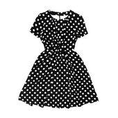 Black polka dot retro dress on white background — Stock Photo