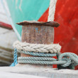 Ropes on a sailing ship — Stock Photo