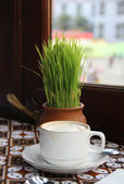 Cup of aromatic coffee in a cafe — Stockfoto