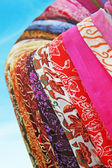 Different color and texture fabrics closeup — Stock Photo