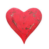 Vintage red heart isolated on white background — Stock Photo