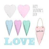 Set of different vintage hearts — Stock Photo