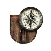 Vintage compass with lid isolated on white background — Foto Stock