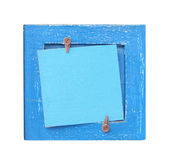 Blue wooden frame with a note space for your text — Stockfoto
