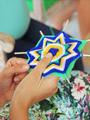 Knitting class mandalas. Shallow depth of field — Stock Photo