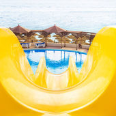 Water park, top water slide, Closeup — Foto Stock