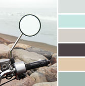 Motorcycle on sea background with space for text, colour palette swatches. — Stock fotografie