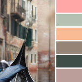 A view from gondola during the ride through the canals of Venice in Italy. colour palette swatches. — Stock Photo