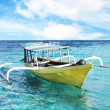 Yellow boat and blue water ocean — Stock Photo