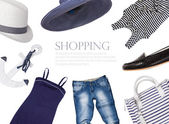 Collage of clothing and accessories in a marine style — Stock Photo