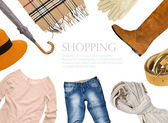 Collage of clothing in warm color scheme — Stock Photo