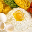 Ingredients for preparation of homemade egg pasta — Stock Photo