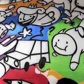 Colorful wall graffiti — Stock Photo