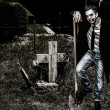 Vampire at Cemetery — Stock Photo