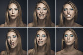 Six portraits of sexy young woman in different expressions — Stock Photo