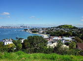 View over suburb towards Auckland city — Stock Photo