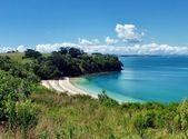 Osłoniętej plaży w otoczeniu wzgórz i drzew — Zdjęcie stockowe