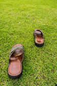Shoes on the field — Stock Photo