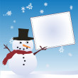 Snow Man with Message Board — Stock Photo