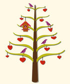 Hearts, Tree, Birds — Stock Photo