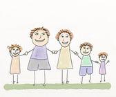 A Happy Family Says Hello — Stock Photo