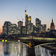 Frankfurt skyline at night - Stock Photo