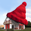 House with red woolen hat - Foto de Stock