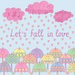 Let's fall in love illustration with umbrellas — Stock Vector