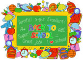Back to School text on a board with objects frame — Vecteur