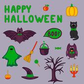 Happy Halloween cartoon objects set — Stock Vector