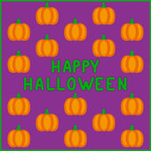 Vector Happy Halloween pumpkins card — Stock Vector