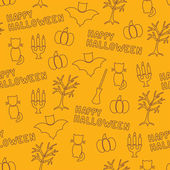 Happy Halloween silhouette objects seamless pattern — Stock Vector